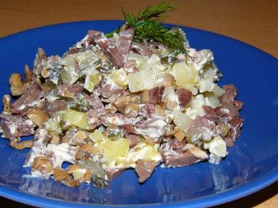 свиное сердце с грибами рецепт салат